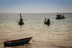Beautiful view of fisherman boats moored on the beach of fisherm Stock Images