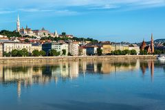 Fisherman`s Bastion and Danube Reflection. Beautiful view of Fisherman`s Bastion reflected in the Danube River in Budapest, Hungary royalty free stock images