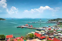 Beautiful view of fisherman village and sea Stock Images