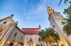 Beautiful view of Flagler College at sunset, St Augustine - Florida - USA. Beautiful view of Flagler College facade at sunset, St Augustine - Florida - USA stock image