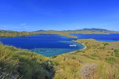 Beautiful view of Flores Island, Indonesia with dramatic blue sk royalty free stock image