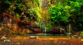 Beautiful view of 25 Fontes Lagoon with a multitude of small wat. Erfalls, at the end of the levada trail with the same name, Madeira Island Royalty Free Stock Images