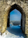 Beautiful view  forest through an archway of the ruins of the old castle Royalty Free Stock Photo