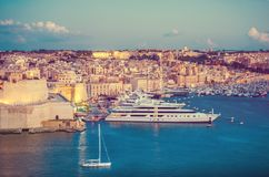Beautiful view of Fort St Angelo from Upper Barrakka Gardens, vi. Ew across The Grand Harbour, Valletta, Malta Royalty Free Stock Photography
