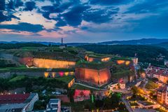 Klodzko in the evening aerial view royalty free stock photography
