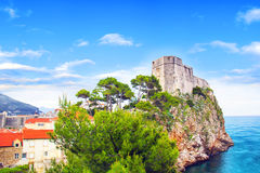 Beautiful view of the Fortress of St. Lawrence and the gulf of the historic city of Dubrovnik, Croatia Stock Photography