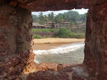 Beautiful view. From the fortress to the sandy beach Stock Images