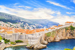 Beautiful view of the fortress wall and the gulf of the historic city of Dubrovnik, Croatia Royalty Free Stock Photography