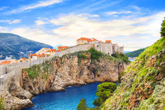 Beautiful view of the fortress wall and the gulf of the historic city of Dubrovnik, Croatia Royalty Free Stock Photos