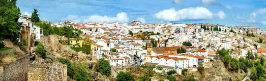 Beautiful view from fortress wall of old town in Ronda. Andalusi Royalty Free Stock Photo