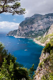 Beautiful view framed by trees of Marina Piccola and sea in Capr Stock Photos