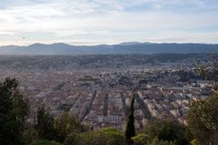 Beautiful view of the French city of Nice, the bay and the islands. royalty free stock images