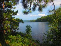 View from shore of a freshwater lake in North America royalty free stock images