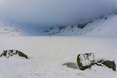 Beautiful view of the frozen lake under the clouds. Black Pond G royalty free stock photo