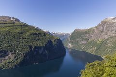 Beautiful view of Geiranger fjord from Ornesvingen - Eagle Road viewpoint royalty free stock photo