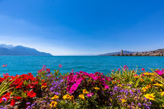 Beautiful view of Geneva lake and Montreux city Royalty Free Stock Photo