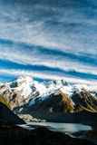 Beautiful view and glacier in Mount Cook National. View glacier at mt. cook otago new zealand Royalty Free Stock Photos