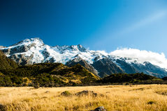 Beautiful view and glacier in Mount Cook National  Royalty Free Stock Photo