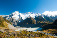 Beautiful view and glacier in Mount Cook National Park, South Is Royalty Free Stock Photo