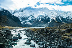 Beautiful view and glacier in Mount Cook, South Is. Beautiful view and glacier in Mount Cook National Park, South Island, New Zealand Stock Photo