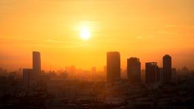 View of golden sunrise over the Bangkok city, Thailand. Beautiful view of golden sunrise over the Bangkok city, Thailand stock photos