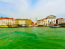 Beautiful view from Grand Canal on colorful facades of Venice Royalty Free Stock Image