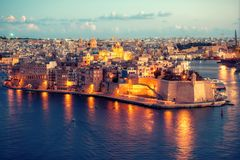 Beautiful view of Grand Harbour and Senglea, L-isla, peninsula w. Ith Fort Saint Michael, Malta Stock Photo