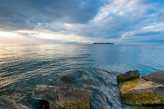 Beautiful view from a Greek Port. Royalty Free Stock Photography