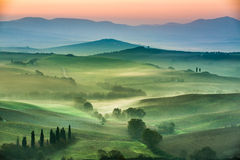 Beautiful view of green fields and meadows at sunset in Tuscany Royalty Free Stock Images