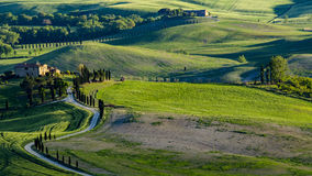 Beautiful view of green fields and meadows at sunset in Tuscany. Photo taken in May 2017 Stock Image