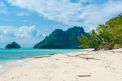 Beautiful view of the green mountains and the sea from Poda Isla. Nd, Thailand Royalty Free Stock Photos