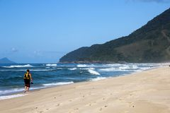 Beautiful landscapes can be found in Grumari, Brazil stock photo