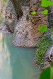 Beautiful view of the Guadalevín River with its turquoise waters. A wonderful day of adventure in the city of Ronda in the province of Malaga Spain stock photo
