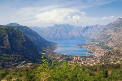 Beautiful view of Gulf of Kotor and Kotor city on sunny day. Montenegro. Beautiful view of Gulf of Kotor and Kotor city on sunny spring day. Montenegro stock photos