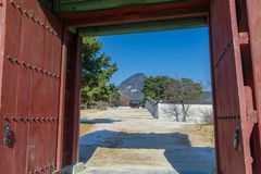 Beautiful view at Gyeongbok Palace. Seoul,Korea Royalty Free Stock Photography