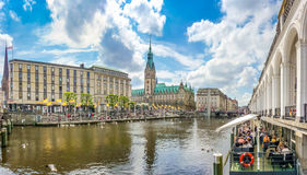 Beautiful view of Hamburg city center with town hall and Alster river, Germany Royalty Free Stock Photo