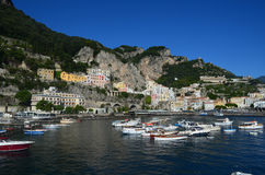 Beautiful View of a Harbor Along Italy`s Amalfi Coast Royalty Free Stock Images