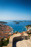 Beautiful view of harbor in Hvar town Royalty Free Stock Photo