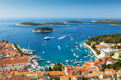 Beautiful view of harbor in Hvar town Royalty Free Stock Images