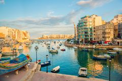 Beautiful view of harbor with maltese yachts and boats in St. Ju. Lians to Sliema, Spinola Bay, Malta Stock Images