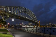 Beautiful view of the Harbour Bridge and the bay of Sydney, Australia, in the blue hour light. Beautiful view of the Harbour Bridge and the bay of Sydney stock photography