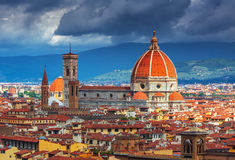 Beautiful view on hard of amazing Florence city and the Cathedral at sunrise, Florence Royalty Free Stock Photo