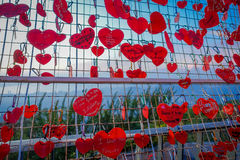 Beautiful view of heart locks in Penang Hill during sunset, Malaysia Stock Photography