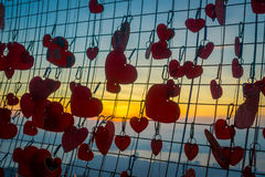 Beautiful view of heart locks in Penang Hill during sunset, Malaysia Stock Photo