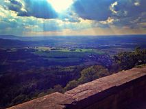 Beautiful view of Hechingen Germany. Beautiful day at Hohenzollern Castle in Hechingen Germany. Caught the sun at the perfect time Stock Image