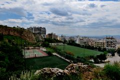 Beautiful view from the heights with playgrounds in the city of Greece stock photo