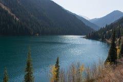 Beautiful view of high mountain lake Kolsai in Kazakhstan, centr. Beautiful view of high blue mountain lake Stock Photo