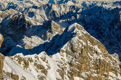 Beautiful view from highest mountain peak Zugspitze near Garmisch Partenkirchen. Bavaria, Germany. Royalty Free Stock Photography