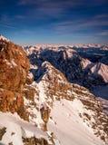 Beautiful view from highest mountain peak Zugspitze near Garmisch Partenkirchen. Bavaria, Germany. Royalty Free Stock Images
