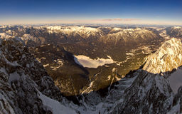 Beautiful view from highest mountain peak Zugspitze near Garmisch Partenkirchen. Bavaria, Germany. Royalty Free Stock Photos